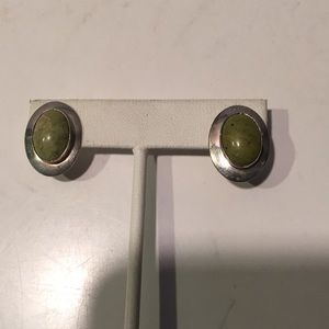 Sterling silver post oval earrings lime stone